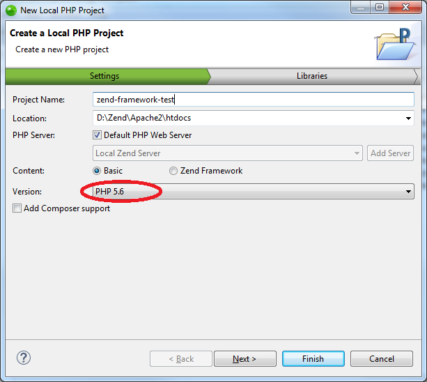 The New Local PHP Project dialog in Zend Studio 13