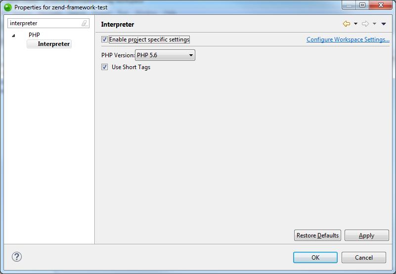 Zend Studio PHP Interpreter Dialog